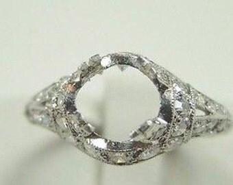 Antique Birks Platinum Engagement Ring Setting | Will Hold 6-6.5 MM | ES- 231