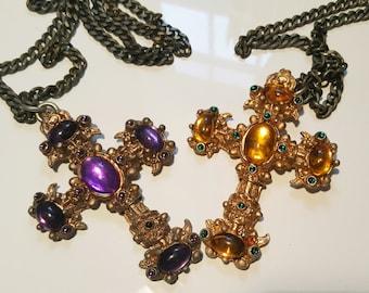 AMAZING vintage 1980s costume jewelry cross - like CHRISTIAN LACROIX!!!!