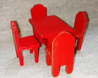 REDUCED Strombecker Doll House Furniture, Table and Four Chairs, Wood, Red, 1930s