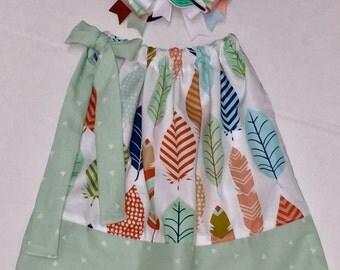 Custom Boutique handmade Feathers Pillowcase Dress