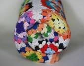 vintage afghan blanket multi colored acrylic granny square afghan