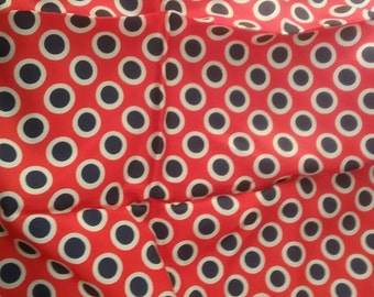 Pink and Navy polka-dot silky Vintage Fabric Yardage