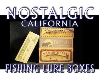 Lake Arrowhead lake house fishing cabin decor nostalgic fishing lure boxes