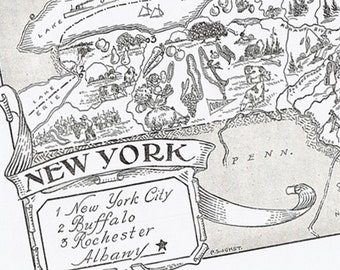 Vintage MAP New York, Adorable, Beautifully Illustrated, Perfect for Framing, Whimsical, Syracuse, Jets, Yankees, Buffalo, Rochester