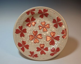 Red Dogwood Hand Carved Serving Dish - Handmade - in Stock