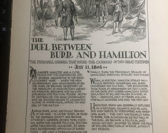 Hamilton Burr duel 1933 book page history print illustration . Art frameable history