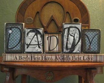 Special Order for symoore5  - Daddy Photo Block,  Customized Daddy Sign Word Blocks with Pictures, Dad Sign,  Father's Day Gift,