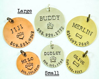 Dog ID Tag • Personalized Pet Tag • Custom Dog Tag • Cat Tag • New Puppy Gift • New Dog Gift • Copper Tag • Silver Pet Tag • Name Number
