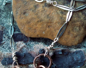 Rustic Rings Necklace -:- Sterling silver & copper rings. Art Deco. Rustic. Organic. Modern.