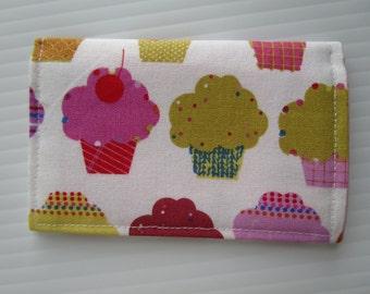 Cupcake Fabric Credit Card Wallet, Baker, Bakery, Sweets, Credit Card Holder, Gift Card Wallet, Business Card Wallet, Small Wallet