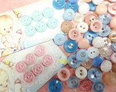 Little Baby Doll Sweet Petite Colorful Pastel Nursery Plastic Sewing Buttons Vintage Embellishments Notions Lot