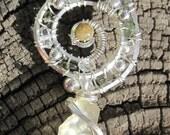 Sacred Spiral//Awakening///Libyan Desert Glass, Or Golden Tektite, Moldavite, Cat Eye Tourmaline, Quartz, Sterling Silver Wire Wrap Pendant