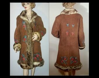 1960s embroidered brown sheepskin shearling fox fur coat ~ 10 12 Medium Large ~ flower child ~ hippie chic Princess winter bombshell jacket