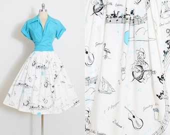 Vintage 50s Skirt & Top | 1950s dress set | rare novelty print | Nassau's Mademoiselle | m/l | 5856