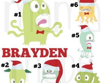 Boy's Christmas Shirt,Monster Christmas Shirt or bodysuit, Boy's Monter Christmas Shirt, Santa Monster christmas Shirt, Santa Monster Tee