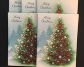 5 Vtg Christmas Cards - Unused with Envelopes - Norcross