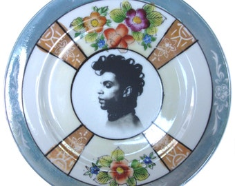 "Prince Portrait Plate - Altered Vintage Plate 7.4"""