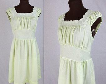 50% OFF SALE 70's Day Dress / Lime Dress / Prairie Dress / Mini Dress (m)