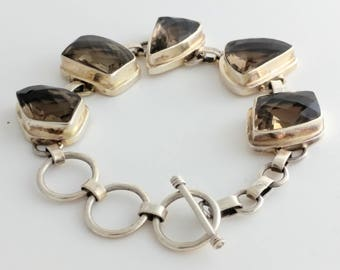 Abstract Shaped Smokey Quartz & Sterling Bracelet Marked 925
