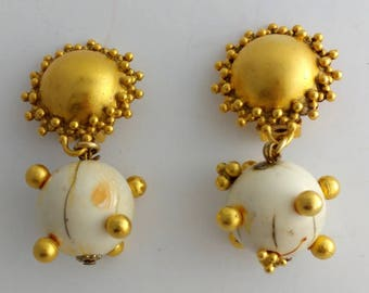 Round Solar System Ball Gold Metal Clip Earrings Signed Heidi Daus for Jim Walters