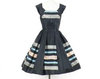 50s Party Dress, Vintage 1950s Dress, Striped Satin Full Skirt Dress, Paul Sachs Original