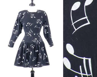 1980s Musical Notes Dress, Vintage Novelty Print Dress, Black and White Cotton Day Dress, Music Lover