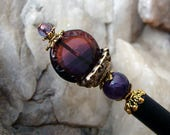 Hair Stick Amethyst Purple and Ruby Hair Pin Purple and Red Carved Glass Coin with Amethyst Gemstone Hair Pick Hair Chopstick - Laila