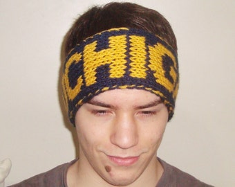 Headband Men, University of Michigan boyfriend gift personalized blue and yellow knit headband earwarmer men's headband