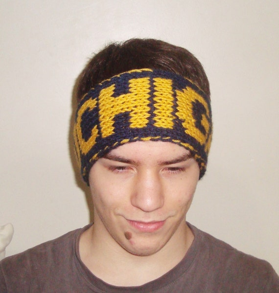 University of Michigan blue and yellow personalized knit headband earwarmer women's headband men's headband
