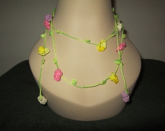 Cotton Flowered Necklace Crocheted by SuzannesStitches, Crochet Flowered Necklace, Cotton Fiber Chain Necklace, Boho Chic Necklace, Necklace