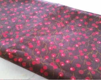 September - berries on brown - cotton fabric OOP VHTF