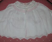 Vintage made in the Philippines diaper shirt for baby girl.White with pink smocking trim.For baby,large doll,photo prop,nursery,collectible.