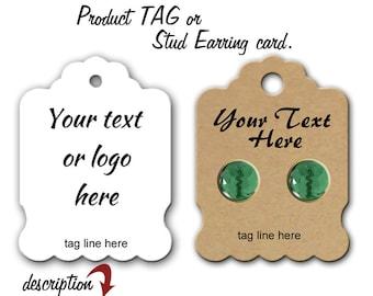 Custom Price tags, Stud Earring Cards, Jewelry Display, Earring Cards, Clothing Tags, Necklace Tags, Price Tags, Jewelry Cards