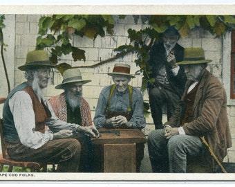 Cape Cod Men Massachusetts 1920s postcard