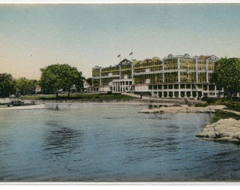 Griswold Hotel Eastern Point New London Connecticut hand colored postcard