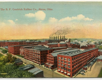 B F Goodrich Rubber Co Factory Akron Ohio 1910c postcard