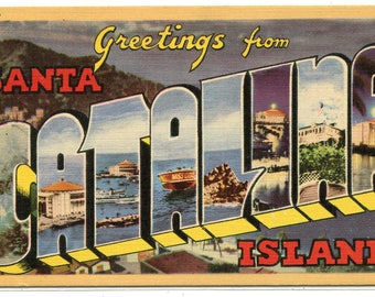 Greetings From Santa Catalina Island California Large Letter linen postcard