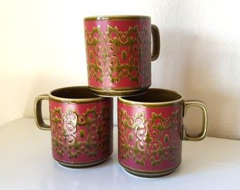 RARE Hornsea Olive & Red Filigree Mugs - Classic 1970s Hornsea England Coffee / Tea Mugs - John Clappison Design - Three in stock