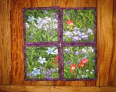 """Fabric Coasters, Purple Red and Blue Flowers, Reversible Quilted Drink Mats, 5x5"""" Handmade"""