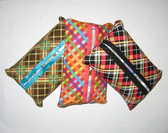 Fabric Tissue Covers, Perky Plaids Purse Tissue Pack, Travel Tissue Pack Cover, Handmade, Gift under 5