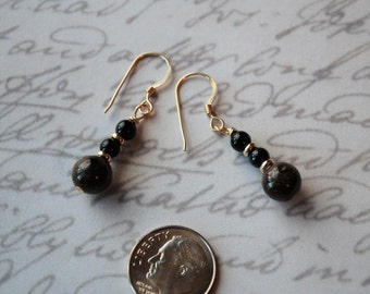 Black Onyx and Brown Jasper on Gold Filled Ear Wires Earrings
