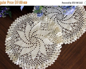 2 Spiral Doilies, Small Centerpiece in Off White, Hand Crocheted, Vintage Crochet, Matching Doilies 13406