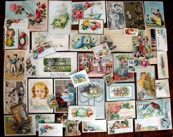 60 Victorian Trade Cards, Antique Images Lot, Original Cards Cut From Albums, Die Cuts, 13901