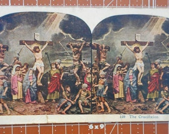 Antique Religious Stereoscope Card The Crucifixion Card No. 129