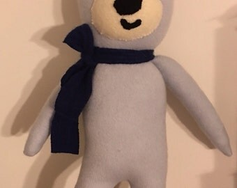 Boy toy blue bear Cashmere Plush toy soft doll upcycled cashmere children's pillows kids room decor, nursery decor kids pillows baby