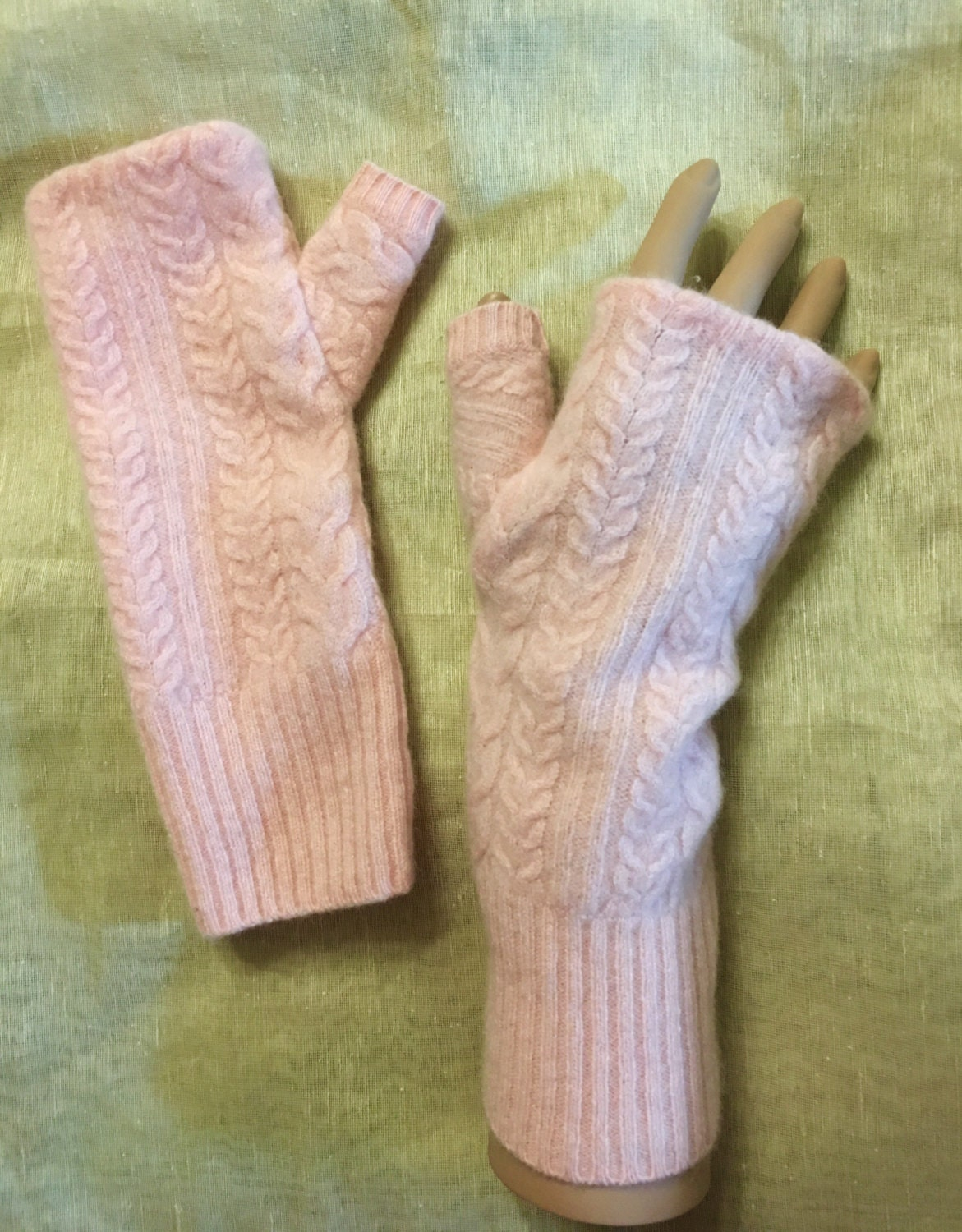 Knitting Pattern Cashmere Gloves : A36 peach pink cashmere fingerless gloves cable knit pattern
