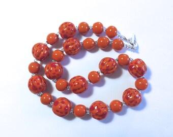 Kazuri Necklace, Ceramic Jewelry, Kazuri Bead Necklace, Orange and Red Kazuri Necklace
