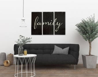 family three piece set hand painted wall art statement piece