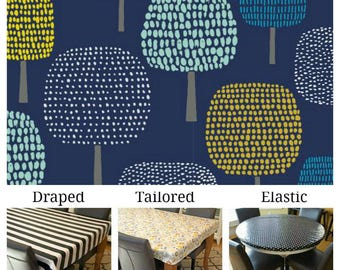Laminated cotton aka oilcloth tablecloth, wipe clean, waterproof, custom fit choose elastic, tailored or draped, Glade print