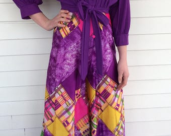 70s Palazzo Jumpsuit Purple Print Retro Funky Vintage Lounger M